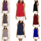 Womens Chiffon Shirt Halter Sleeveless Blouse Casual Loose Tank Top Size S-XXXL