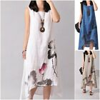 Three Kinds Summer Women Floral Printed Casual Literature Sleeveless Dress