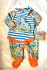 Baby Boy 5 Piece Set Sleepsuit Bodysuit  Bib Hat Scratch Mitts 0 3 6 Mths Bnwt