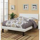 Serene Slated Wooden Full Bed In Faux Leather-12 Slats, White