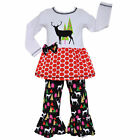 AnnLoren Girls Reindeer & Christmas Tree Tunic Clothing Set Sz 12/18mo - 13/14