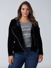 Lane Bryant Velvet Moto Jacket Plus 14/16 18/20 22/24 26/28 Black 1x 2x 3x 4x $38.97 USD on eBay