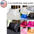 USA Smooth Solid Queen/Standard Silk~y Satin Pillow Case Bedding Pillowcase JO image
