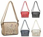 WOMENS FAUX LEATHER DIAMANTE CRYSTAL EVERYDAY CROSSOVER CLUSTER ZIP SHOULDER BAG