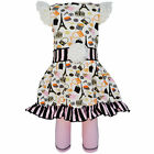 AnnLoren Paris Eiffel Tower Girls Cotton Dress and Stripes Legging sz 2/3T-13/14
