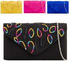 WOMENS CLUTCH BAG SEQUIN BEADS FAUX SUEDE ENVELOPE PARTY EVENING PURSE HANDBAG