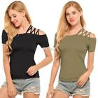 Women Sexy Short Sleeve Off Shoulder Bandage Solid Slim Blouse Tops DZ88
