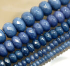 Faceted Sapphire Jade Rondlle Gemstone Beads 15