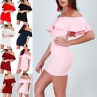 Ladies Womens Off Shoulder Bardot Ruffle Peplum Frill Mini Bandage Bodycon Dress