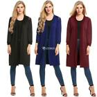 Women's Long Sleeve Open Front Patchwork Cardigan Coat Plus Size DZ88