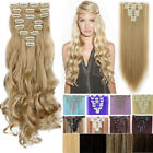 "Extra THICK Real 100% as Remy Human Hair Extensions Clip in DIY 8Piece 17-26"" FR"