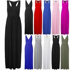 New Ladies Womens Long Summer Vest Strappy Pockets Racer Muscle Back Maxi Dress