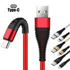 US 1~3m Tensile Braid Durable USB Lightning Micro Type C Cable 2A Fast Charger
