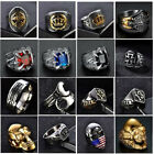 Heavy 316l Stainless Steel Gothic Punk Biker Rings Mens Motorcycle Skull Jewelry