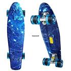 "22"" Cruiser Skateboard Graphic Blue Galaxy Starry Board Penny Style PU Wheels"