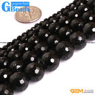 Natural AAA Grade Black Tourmaline Gemstone Faceted Round Beads Free Shipping