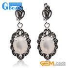 Fashion Oval Beads Marcasite Silver Dangle Stud Hoop Earring Free Shipping