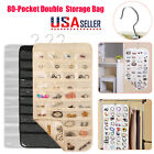 Double Side Hanging Jewelry Accessories Organizer 80 Pocket Pouch Holder Storage