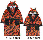 Boys Tiger Dressing Gown New Animal Soft Fleece Hooded Robe Ages 2 - 13 Years