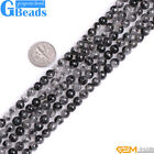 """Natural AA+ Grade Black Rutilated Quartz Round Beads For Jewelry Making 15"""" GB"""