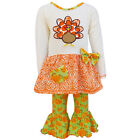 AnnLoren Thanksgiving Turkey and Pumpkin Tunic with Printed Pants sz 2/3T-13/14