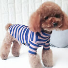 Hoodie Clothes Pet Dog Coat Jumper Tops Winter Striped T-Shirt Cotton Pajamas