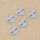 5 Pcs Enamel Peach Heart Charms Pendant Lovely Eyebrow for Jewery Making Craft