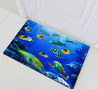 Colorful Tropical Sea Fish Bathroom Shower Curtain Liner Blue Ocean Theme + Hook