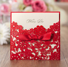 New Red Wedding Invitation Cards Kit with Bowknot Custom Personalized Printing