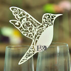 Ivory Bird Laser Cut Pearlescent Wine Glass Place Name Cards Wedding Party Favor