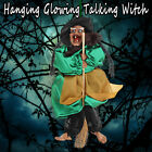 12'' Halloween Hanging Animated Talking Witch Props Laughing Sound Glowing Eye