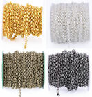 5M A Roll Bulk Solder BL Rolo Chain DIY Silver Gold Plated Gunmetal Chain 3.2mm