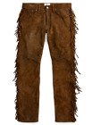$1, 800 Double Ralph Lauren RRL Brown Western Limited Edition Suede Leather Pants