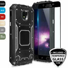 For Galaxy J7 Crown/Star/V 2018 Case Metal Magnetic Support+Black Tempered Glass