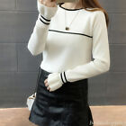 Women Knit Round Neck Loose Solid Slim Jumper Bottom Tops Sweater Blouse Autumn