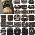 6pcs Fashion Mens Punk Leather Wrap Braided Wristband Cuff Punk Bracelet Bangle image