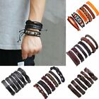 Внешний вид - 6pcs Fashion Mens Punk Leather Wrap Braided Wristband Cuff Punk Bracelet Bangle