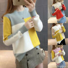 Korean Women Color Block Sweater Jumper Loose Thermal Tops Blouse Autumn Winter