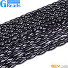 """Natural Black Onyx Agate Faceted Olivary Rice Beads For Jewelry Making 15""""Strand"""