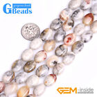 """Gemstone Crzay Lace Agate Oval Beads For Jewelry Making Free Shipping 15"""" Strand"""