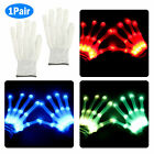 2x LED Flashing Gloves Glow 3 Mode Light Up Finger Tip Lighting Pair Rave Party