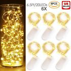 6x 20 Led 2m Waterproof Led Micro Silver Copper Wire String Fairy Lights Decor