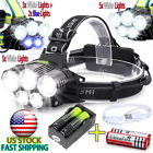 90000LM Headlamp 5x T6 LED Rechargeable Headlight USB Light Torch+18650 Battery