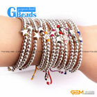 "New Fashion Silver Star/Ball Beads Rope Bracelets Adjustable 7"" 12 Colors Select"