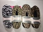 Women's Ballerina Slippers Socks Soft Polyester Cheetah Zebra Leopard Print NEW