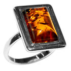 3.15g Authentic Baltic Amber 925 Sterling Silver Ring Jewelry N-A7125