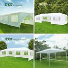 10'x30' Outdoor Canopy Party Wedding Tent White Gazebo Pavilion 5/7/8 SideWalls