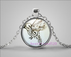 Bird Music Photo Cabochon Glass Tibet Silver Pendant Chain Necklace#EF14