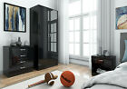 HIGH GLOSS 3 PIECE Bedroom Furniture Set - Wardrobe Chest Bedside *FREE DELIVERY