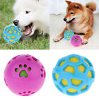 New Pet Dog Rubber Ball Tough Treat Training Chew Sound Activity Toy Squeaky